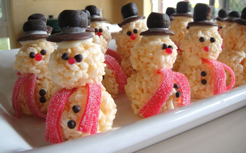 Rice Krispie Snowman | Christmas Rice Krispie Treats Recipes You'll Love